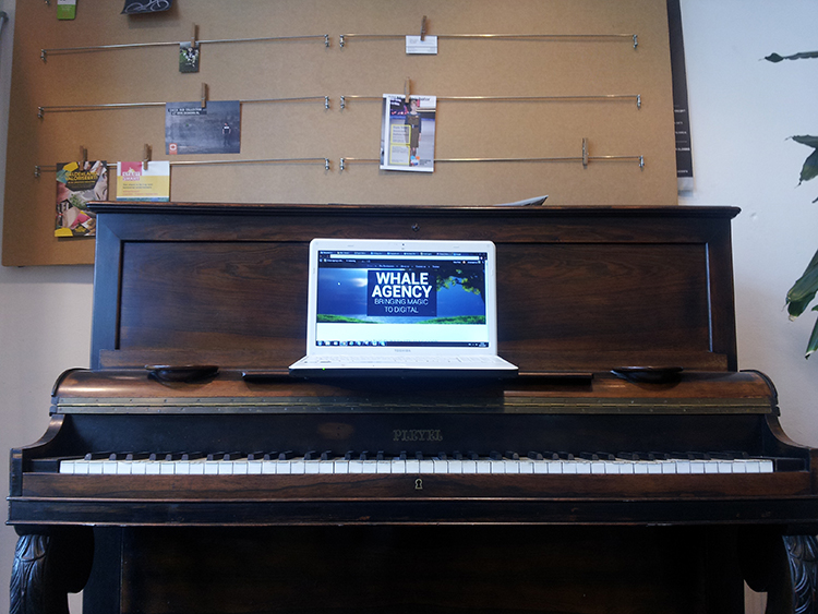 whale agency office piano