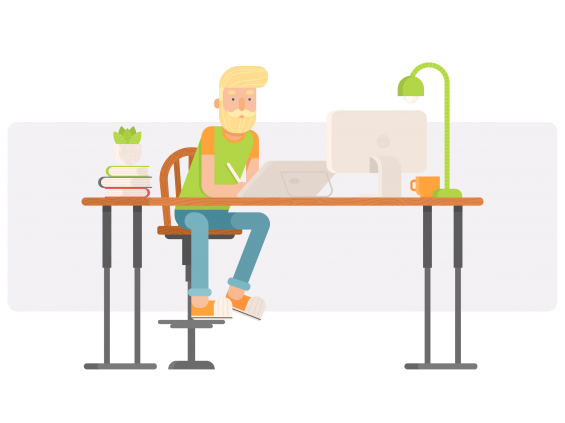 a freelance hipster worker sitting and working at the table
