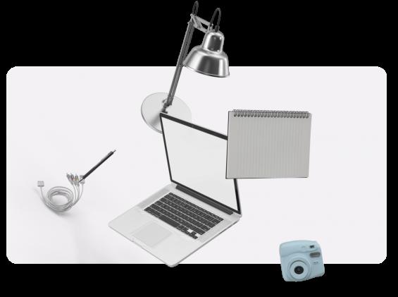 freelance lamp camera and notepad