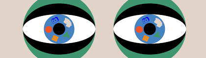 2 colorful eyes with figures